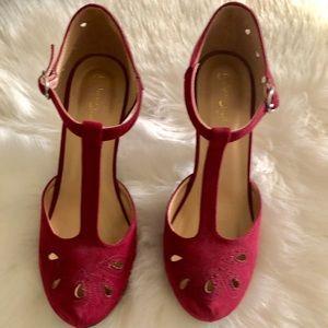 Burgundy vintage inspired heels